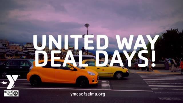 YMCA of Selma - United Way Deal Days! Text with Picture of Cars and Street in Background