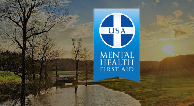 Image of USA Mental Health First Aid Logo with Farm, Lake and Sun Background
